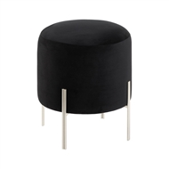 Modern Chic Black Velvet Stool