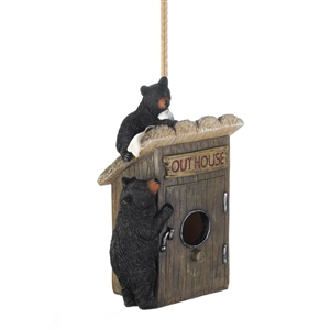 Black Bear Outhouse Wood Birdhouse