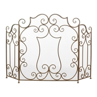 Modern Scroll Three Panel Fireplace Screen