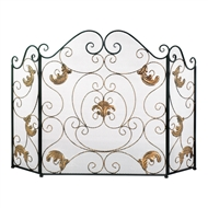 Gold Fleur-De-Lis Three Panel Fireplace Screen