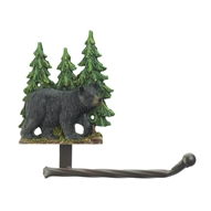 Black Bear In Forest Toilet Paper Holder