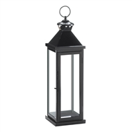 Large Glossy Black Metal Candle Lantern