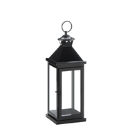 Medium Glossy Black Metal Candle Lantern