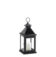 Small Glossy Black Metal Candle Lantern
