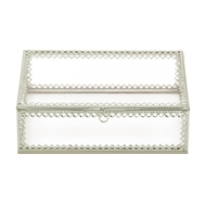 Silver Trim Glass Jewelry Box