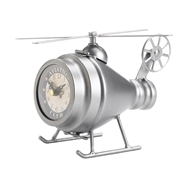 Silver Helicopter Desk Clock