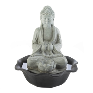 Buddha On Lotus Flower Tabletop Fountain