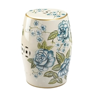 Antique Floral Garden Ceramic Barrel Stool
