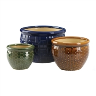 Designer Trio Ceramic 3PC Planter Pot Set