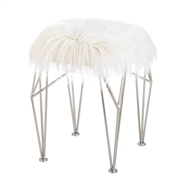 White Faux Fur Stool With Prism Legs
