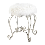 White Faux Fur Stool With Scroll Legs