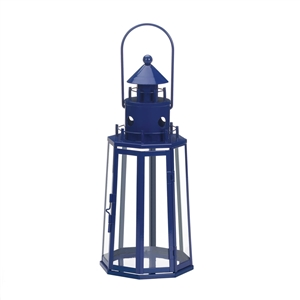 Blue Lighthouse Metal Candle Lantern