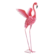 Tall Flying Flamingo Metal Decor Statue