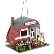 Red Vintage Camping Trailer Wood Birdhouse