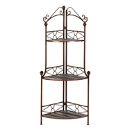 Rustic Metal & Wood Scrollwork Corner Bakers Rack