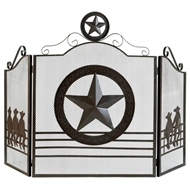 Texas Lone Star Three Panel Fireplace Screen