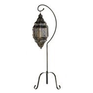 Moroccan Lattice Lantern Candle Holder w/Stand