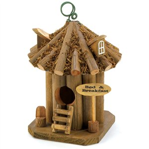 Bed & Breakfast Brown Round Wood Birdhouse
