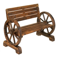 Double Wagon Wheel Wood Bench