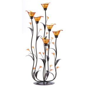 Amber Calla Lily Candelabra Candle Holder