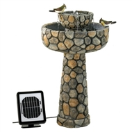 Faux Cobblestone Wishing Well Solar Water Fountain