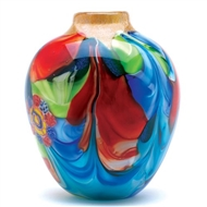Multi-Colored Floral Fantasia Glass Jug Shaped Vase