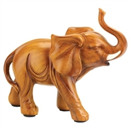 Lucky Elephant Wood-look Figurine