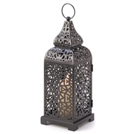 Moroccan Tower Black Metal Candle Lantern
