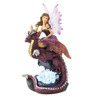Fairy Maiden on Winged Dragon Rider Figurine