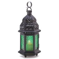 Emerald Green Glass Moroccan Metal Candle Lantern