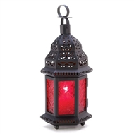 Deep Red Glass Moroccan Metal Candle Lantern