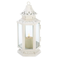 Small Victorian White Metal Candle Lantern