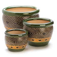 Jade Green 3PC Ceramic Planter Pot Set