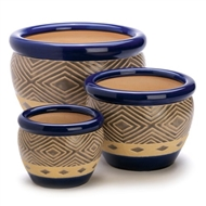 Cobalt Blue 3PC Ceramic Planter Pot Set