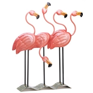 Flock O' Pink Flamingos Wrought Iron Decor