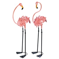 Flamboyant Pink Flamingo Wrought Iron Stakes 2PC