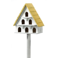 Cape Cod White Wood Birdhouse Condo
