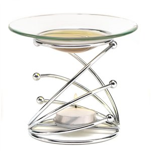 Modern Art Metal & Clear Glass Fragrance Oil Warmer