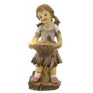 Girl Holding Bird Feeder Solar Statue