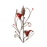 Ruby Red Blossom Tealight Candle Holder Wall Sconce