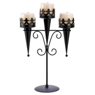 Medieval Black Metal Triple Stand Candle Holder