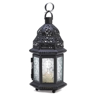 Clear Glass Moroccan Black Metal Candle Lantern