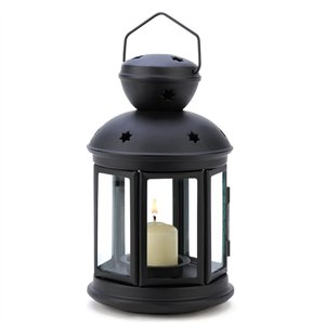 Clear Glass Black Metal Colonial Candle Lantern