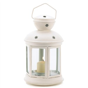 Clear Glass White Metal Colonial Candle Lantern