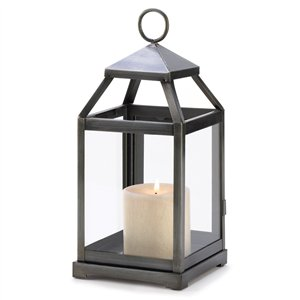 Brushed Silver Metal Contemporary Candle Lantern