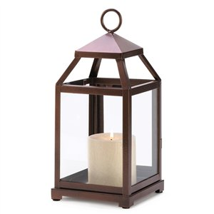 Bronze Metal Contemporary Candle Lantern