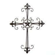 Fleur-De-Lis Lone Star Scrollwork Wrought Iron Wall Cross