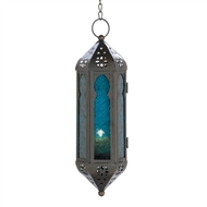 Ocean Blue Glass Black Metal Hanging Candle Lantern