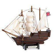 Mini Mayflower Sailing Ship Wood Decor
