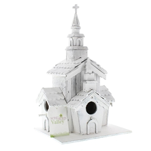 Little White Chapel Wood Birdhouse